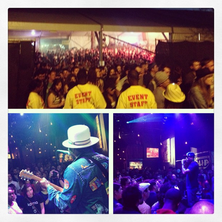 The Fader Fort following Solange's performance (top), Martin Luther (l), Talib Kweli (r)